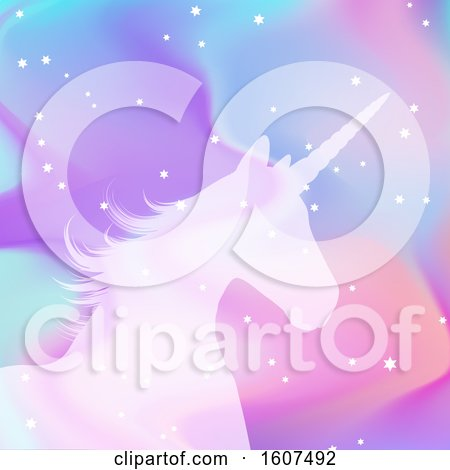 Clipart of a Silhouette of a Unicorn on a Holographic Style Background - Royalty Free Vector Illustration by KJ Pargeter