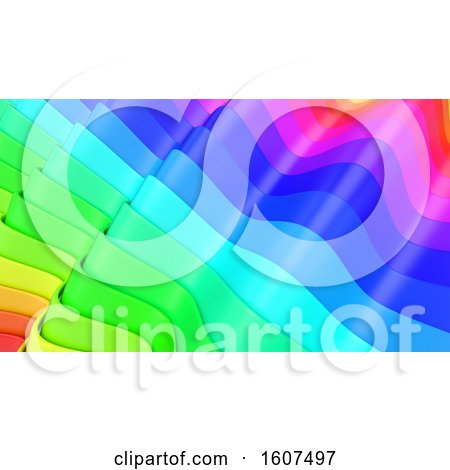 Clipart of a 3d Rainbow Colorful Layer Background - Royalty Free Illustration by KJ Pargeter