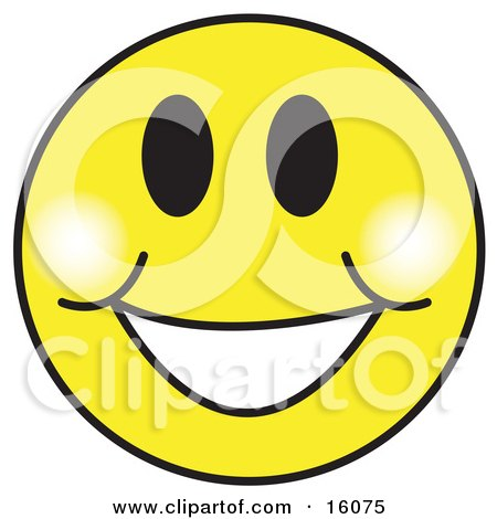 happy yellow smiley face graphic with a big smile clipart rh clipartof com Heart Smiley Clip Art Winking Smiley Face Clip Art