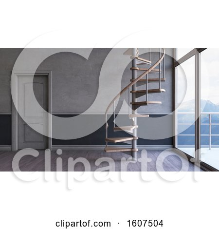 Clipart of a 3d Interior with a Spiral Staircase - Royalty Free Illustration by KJ Pargeter