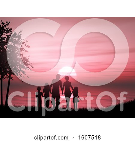Clipart of a 3D Render of a Silhouette of a Family Against a Sunset Ocean - Royalty Free Illustration by KJ Pargeter