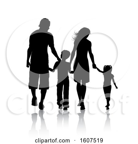 Clipart of a Silhouetted Family Holding Hands, with a Reflection, on a White Background - Royalty Free Vector Illustration by KJ Pargeter