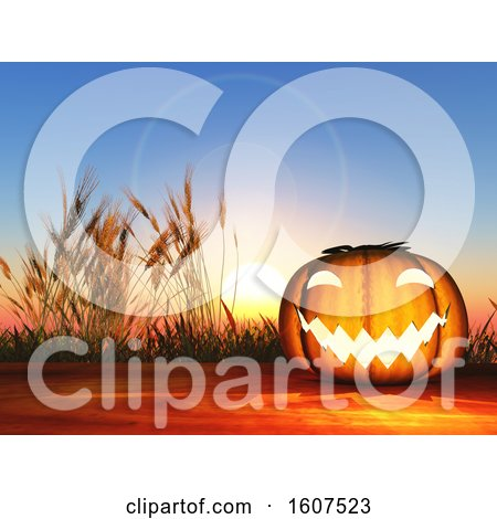 Clipart of a 3D Render of a Halloween Pumpkin on a Wooden Table Against a Sunset Sky - Royalty Free Illustration by KJ Pargeter
