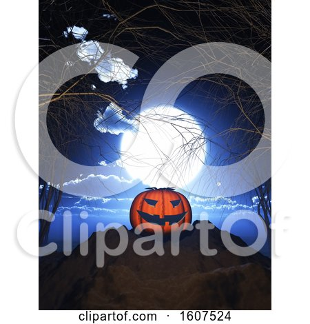 Clipart of a 3D Render of a Pumpkin Against a Spooky Halloween Landscape - Royalty Free Illustration by KJ Pargeter