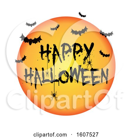 Clipart of a Happy Halloween Greeting with Bats and a Spider, on White - Royalty Free Vector Illustration by KJ Pargeter