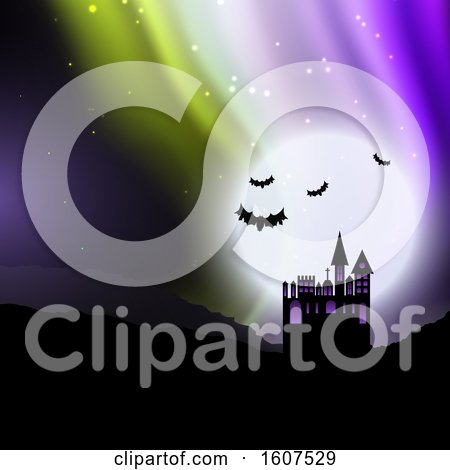 Clipart of a Halloween Background with Spooky House Against Sky with Northern Lights - Royalty Free Vector Illustration by KJ Pargeter