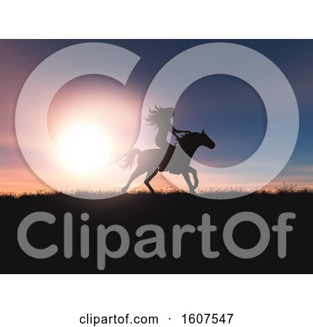 Clipart of a 3D Render of a Female Riding Her Horse in a Sunset Landscape - Royalty Free Illustration by KJ Pargeter