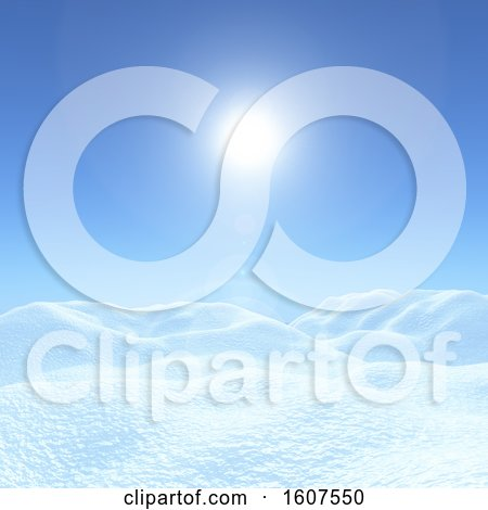 Clipart of a 3D Render of a Christmas Background with Snowy Landscape Against a Blue Sunny Sky - Royalty Free Illustration by KJ Pargeter