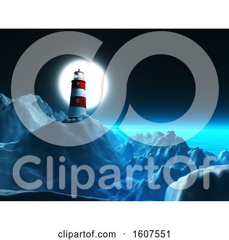 Clipart of a 3D Render of a Lighthouse on Rocky Cliffs Against a Night Sky - Royalty Free Illustration by KJ Pargeter