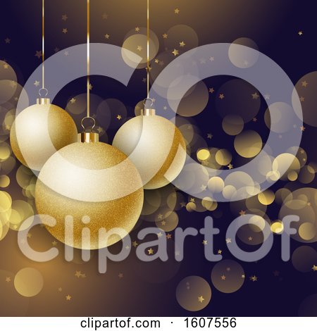 Clipart of a 3d Christmas Background with Golden Suspended Ornaments and Bokeh Flares - Royalty Free Vector Illustration by KJ Pargeter