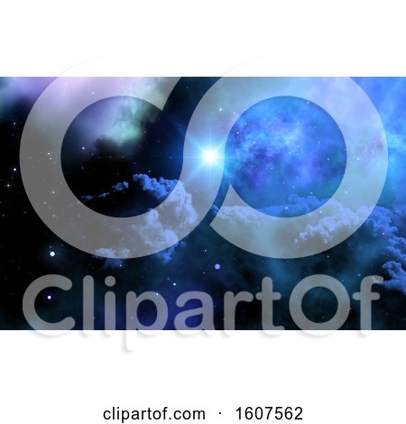 Clipart of a 3D Render of a Space Sky with Galaxy and Shining Star - Royalty Free Illustration by KJ Pargeter