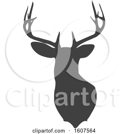 Clipart of a Gray Silhouetted Buck Deer Head - Royalty Free Vector Illustration by KJ Pargeter