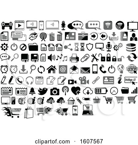 Clipart of Black and White Computer and Website Icons - Royalty Free Vector Illustration by dero