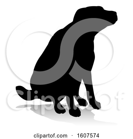 Clipart of a Silhouetted Labrador Dog Sitting, with a Reflection or Shadow, on a White Background - Royalty Free Vector Illustration by AtStockIllustration