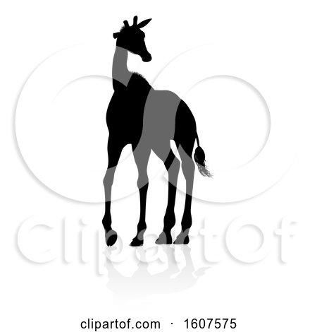 Clipart of a Silhouetted Giraffe, with a Reflection or Shadow, on a White Background - Royalty Free Vector Illustration by AtStockIllustration