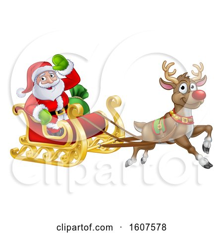 Clipart of a Christmas Santa Claus in a Flying Magic Sleigh with a Red Nosed Reindeer - Royalty Free Vector Illustration by AtStockIllustration
