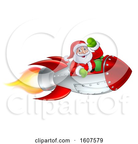 Clipart of a Shooting Rocket with Santa Waving - Royalty Free Vector Illustration by AtStockIllustration