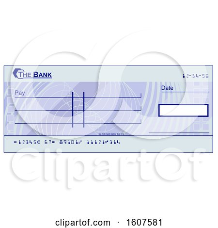 Clipart of a Blank Blue Bank Check - Royalty Free Vector Illustration by AtStockIllustration