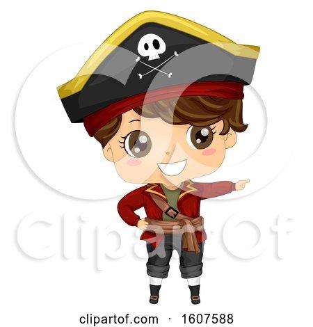 Pirate Kid Boy Costume Point Right Illustration by BNP Design Studio