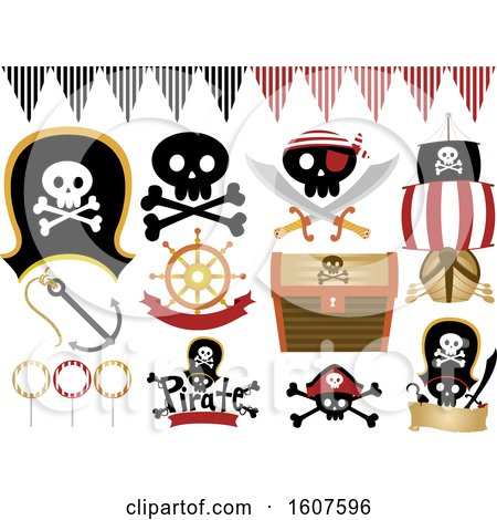 Pirate Party Themed Design Elements Clipart by BNP Design Studio