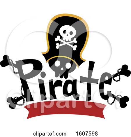 Pirate Party Themed Captain Skull with Bones and a Banner Clipart by BNP Design Studio