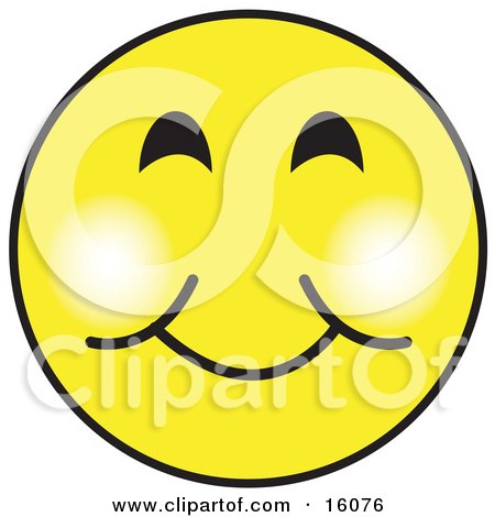 Yellow Smiley Face Graphic With A Closed Lip Smile Clipart Illustration by Andy Nortnik