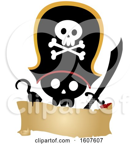 Pirate Party Themed Skull with a Hook and Sword Clipart by BNP Design Studio