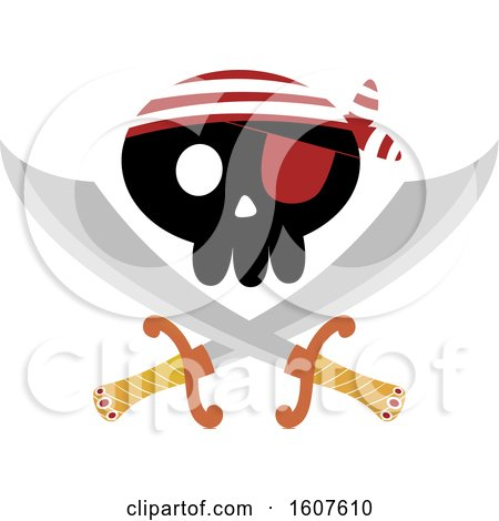 Pirate Party Themed Skull and Crossed Swords Clipart by BNP Design Studio