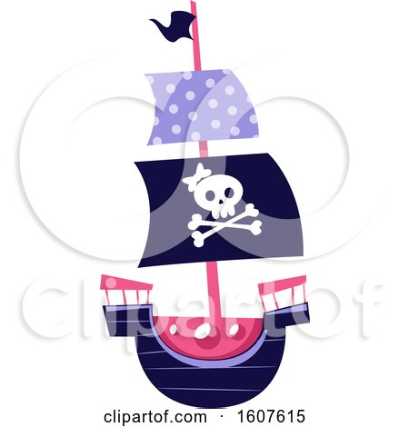 Female Pirate Party Themed Skull and Ship Clipart by BNP Design Studio