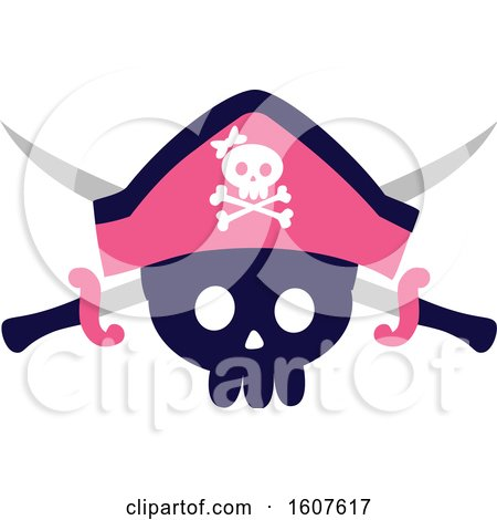 Female Pirate Party Themed Skull and Sword Clipart by BNP Design Studio