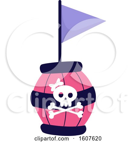 Female Pirate Party Themed Skull Barrel and Flag Clipart Posters, Art Prints