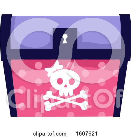 Female Pirate Party Themed Skull and Treasure Chest Clipart by BNP Design Studio