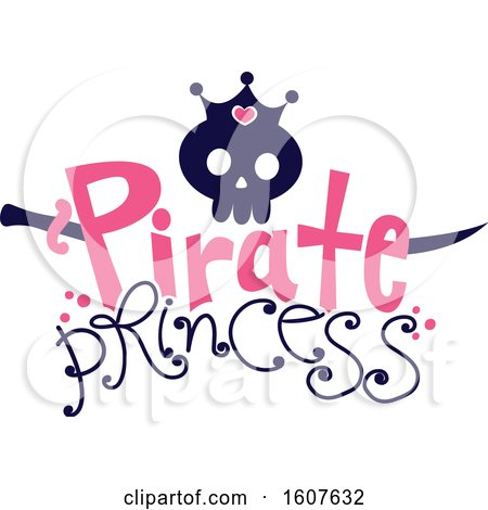 Female Pirate Princess Party Themed Skull Clipart by BNP Design Studio