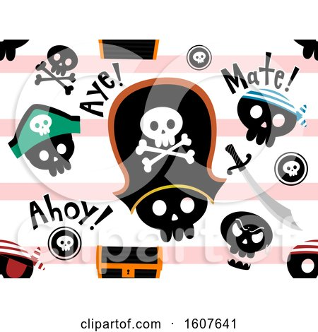 Pirate Skull Seamless Background Illustration by BNP Design Studio