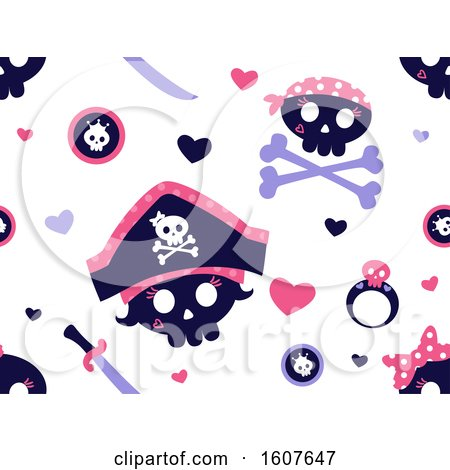 Female Pirate Party Themed Background Pattern Clipart by BNP Design Studio