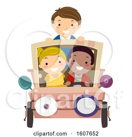 Stickman Kids Junk Art Car Illustration by BNP Design Studio