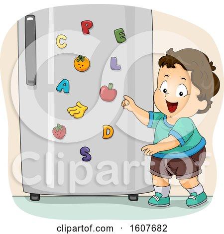 Kid Toddler Boy Fridge Magnet Illustration by BNP Design Studio