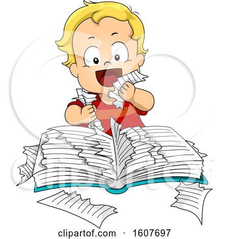 Kid Toddler Boy Ripping Book Eat Illustration by BNP Design Studio