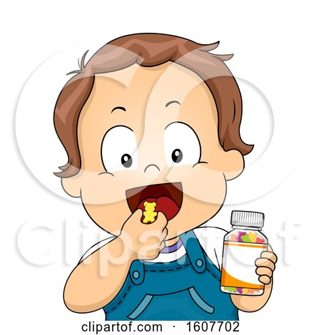 Kid Toddler Boy Vitamin Chewable Illustration by BNP Design Studio