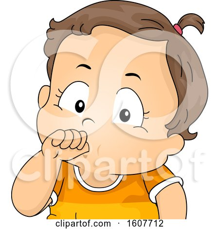 Kid Toddler Girl Thumb Sucking Illustration by BNP Design Studio