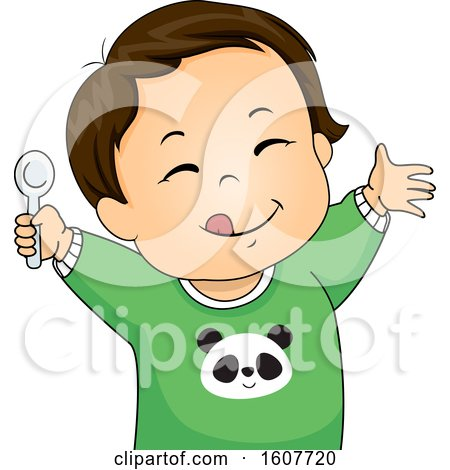 Kid Toddler Boy Meal Yum Illustration by BNP Design Studio