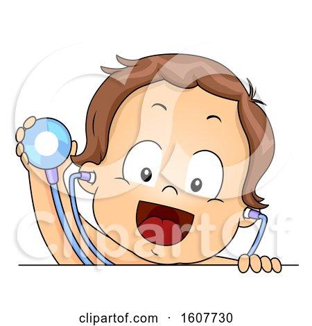 Kid Toddler Boy Stethoscope Check up Illustration by BNP Design Studio