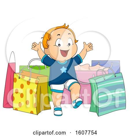Kid Toddler Boy Shopping Bags Illustration by BNP Design Studio
