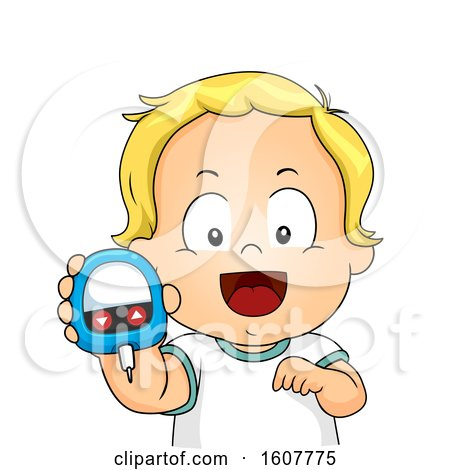 Kid Toddler Boy Blood Glucose Meter Illustration by BNP Design Studio