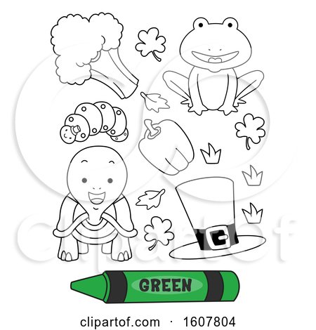 Color Green Secondary Coloring Book Illustration by BNP Design Studio