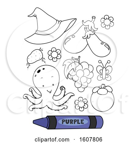 Color Purple Secondary Coloring Book Illustration by BNP Design Studio