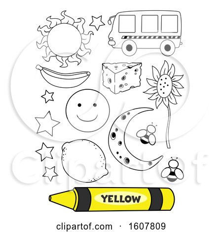 Color Yellow Coloring Book Illustration by BNP Design Studio
