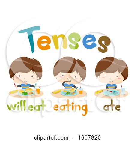 Kids Boy Eat Tenses Lesson Illustration by BNP Design Studio