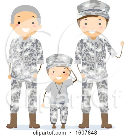 Stickman Military Grandpa Father Son Illustration by BNP Design Studio