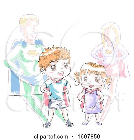 Kids Super Heroes Play Illustration by BNP Design Studio